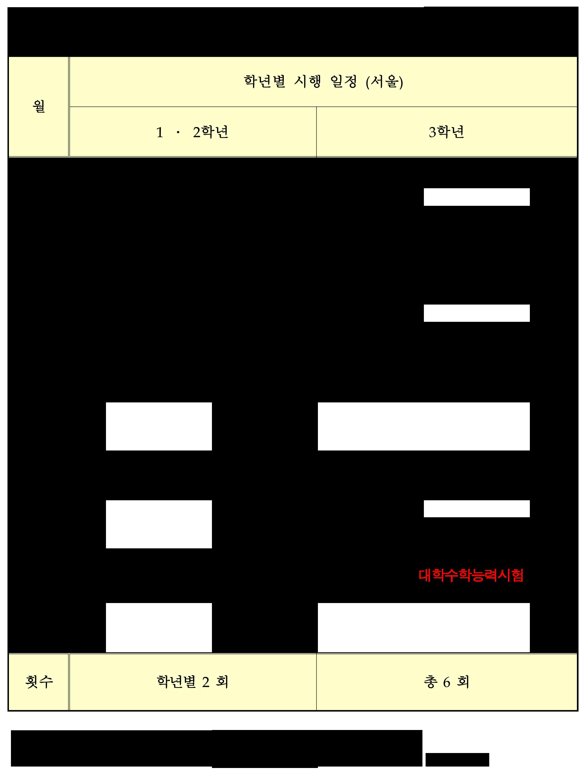 2013학년도_전국연합학력평가_시행_일정(서울)
